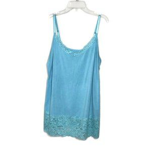 Lane Bryant Blue Lace Trim Cami Tank Top